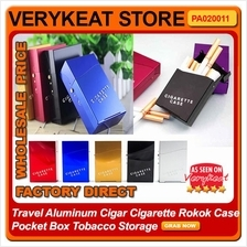 Travel Aluminum Cigar Cigarette Rokok Case Pocket Box Tobacco Storage