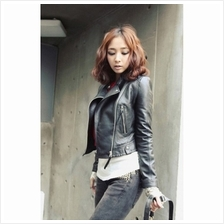 MT007002 Korean Short PU Leather Motorcycle Slim Fit Women Jacket)