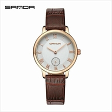 SANDA P187 Genuine Leather Brown Date Display Watch Women (White Gold)