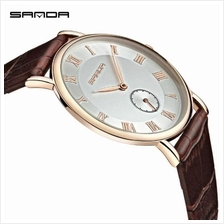 SANDA P187 Genuine Leather Brown Date Display Watch Men (White Gold)