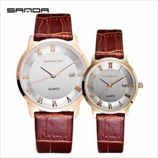 SANDA P188L Genuine Leather Brown Date Display Watch Couple-White Gold