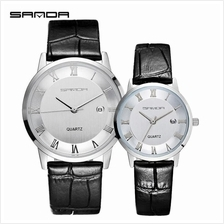 SANDA P188L Genuine Leather Black Date Display Watch Couple(WhiteSilv)