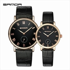 SANDA P187 Leather Black Date Display Quartz Watch Couple-BlackGold