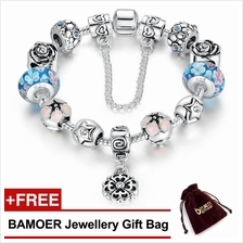 BAMOER 925S Silver Charm Bracelet with Murano Glass European Style