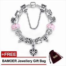 BAMOER 925S Silver Charm Bracelet with Best Wishes European Pink
