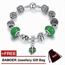 BAMOER 925S Silver Charm Bracelet with Green Lucky Clover Four Leaves