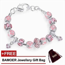 BAMOER 925S Silver Charm Bracelet with Autumn Collection Pink Crystal