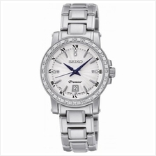 Seiko Premier White Dial Stainless Steel Diamonds Ladies ' Watch SXDG57