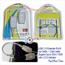 USB Extender by cat5e cat6 RJ45 adapter Extend up to 150ft 50m Printer Scanner