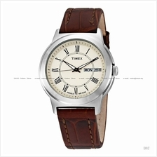 TIMEX T2E581 (M) Bank Street day-date leather strap cream brown