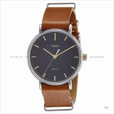TIMEX TW2P97900 (M) Weekender Fairfield Slip-Thru leather black brown