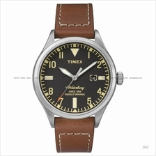 TIMEX TW2P84000 (M) The Waterbury date leather strap black brown
