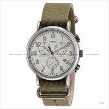 TIMEX TW2P85500 (M) Weekender Chrono Slip-Thru fabric cream green