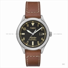TIMEX TW2P84600 (M) The Waterbury date leather strap black brown