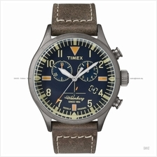 TIMEX TW2P84100 (M) The Waterbury chronograph leather strap blue brown