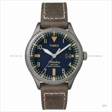 TIMEX TW2P84400 (M) The Waterbury date leather strap blue brown