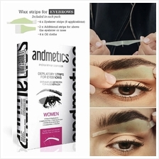 ANDMETICS Brow Wax Strips (4 Pairs + 4 Oil Wipes)
