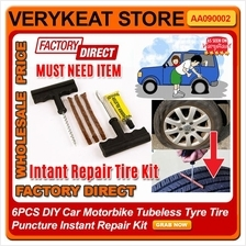 6PCS DIY Car Motorbike Tubeless Tyre Tire Puncture Instant Repair Kit