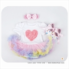 Baby Girl Colourful Bottom Baby Romper Dress + Headband + Shoes)