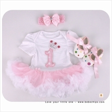 Baby Girl Little One Baby Romper Dress + Headband + Shoes)