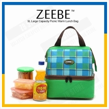 ZEEBE 9L Large Insulated Thermal Lunch Box Warm Cooler Food Bag 1127