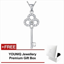 YOUNIQ Untold 925 Sterling Silver Necklace Key Pendant with CZ