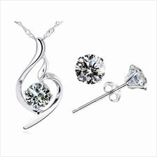 YOUNIQ Wave 925S Silver Pendant with CZ Necklace & Earrings Set