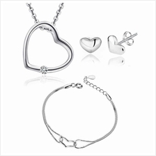 YOUNIQ Simple Love 925S Silver Necklace Pendant with CZ & Earrings Set