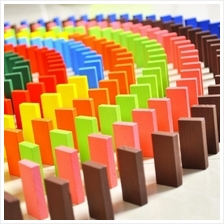 Colourful Wooden Dominoes 120 Pieces