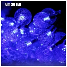 CHRISTMAS TREE DECORS 6M 30 LED SOLAR STRING LIGHT BUBBLE SHAPE LAMP XMAS TREE