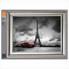 FRAME STICKER - VINTAGE RED CAR AND EIFFEL TOWER