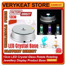 13cm LED Crystal Glass Rotate Rotating Jewellery Display Product Base