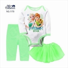 3 in 1 FROZEN Baby Rompers Pants Skirt Tutu Cap Set)