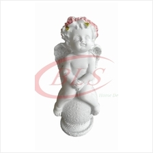 POLYRESIN WHITE COLOR SITTING ANGEL A01 H 16 CM WITH ROSE FLOWER