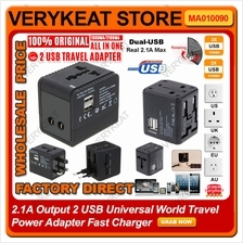 2.1A Output 2 USB Universal World Travel Power Adapter Fast Charger