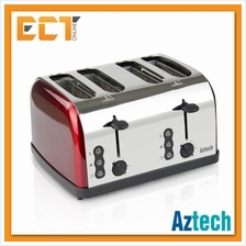 Aztech ABT3640 Burgundy Series 4 Toasting Slots Bread Toaster