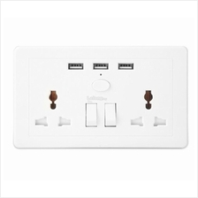 Double Socket Extension with 3 USB Charging Port ~ UK Plug