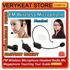 FM Wireless Microphone Headset Radio Mic Megaphone Teaching Tour Guide