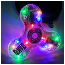 Transparent Glowing LED Fidget Spinner with Bluetooth Speaker