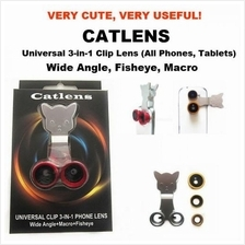 Catlens-Universal 3-in-1 Clip on Lens Fisheye Macro Wide-Angle Camera