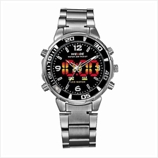 Weide WH843 Dual Time Men's Watch Silver & Black