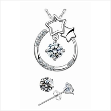 YOUNIQ Stary Eyes 925 Sterling Silver Necklace Set with Cubic Zirconia
