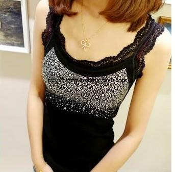 00036 Korean exquisite wild diamond lace sweet vest