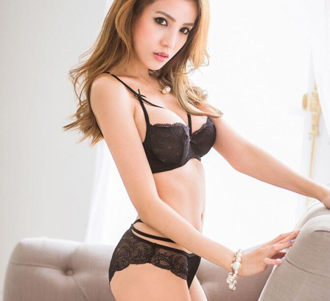 00156 Korean Style Embroidery Lace Push Up Bra Set
