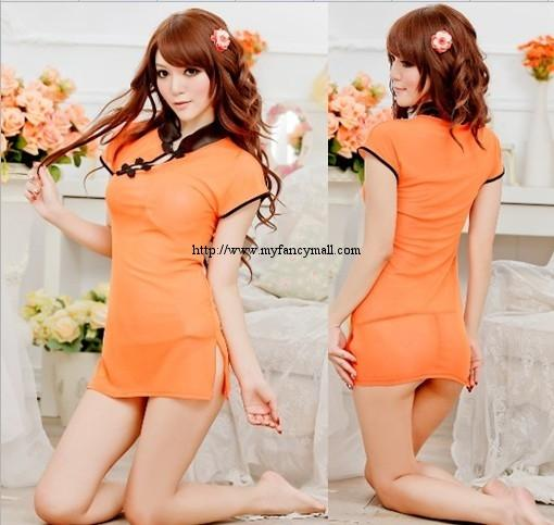 00336 Cosplay sexy cheongsam dress Perspective Lingerie Nightwear +T