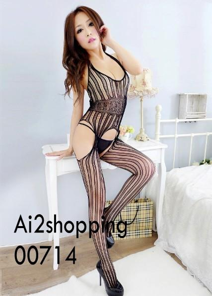00714New fine Halter Sexy front open file coveralls socks
