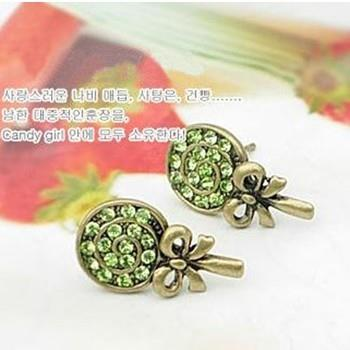 01904 retro copper Korean bow lollipop flash diamond earrings