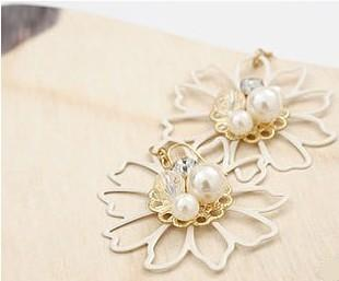 02296Korean flash diamond sunflowers + Pearl Earring