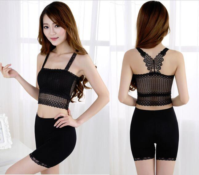02540New butterfly lace sexy fashion vest Tube Top