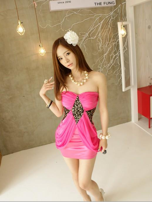 02598 Korean Tee sexy dresses (with chest pad)